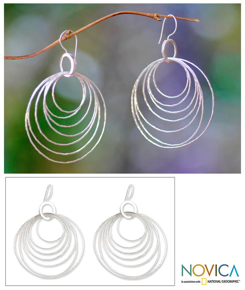 Sterling Silver 'Seven Orbits' Earrings (Indonesia)