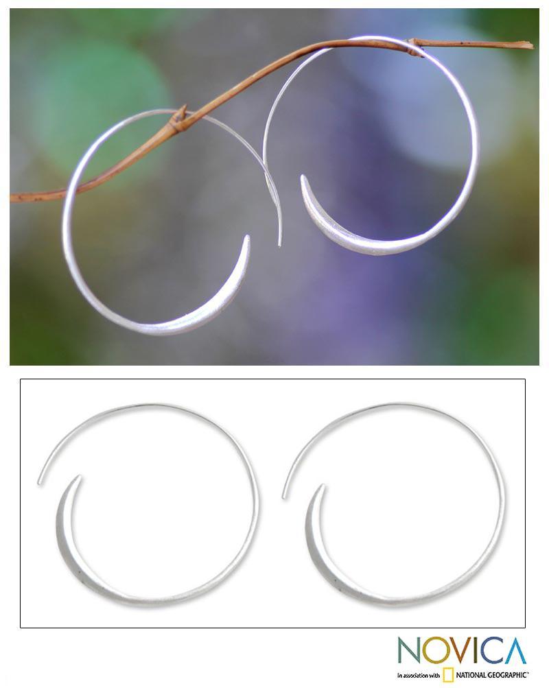 Sterling Silver 'Spin Me' Large Half Hoop Earrings (Indonesia)