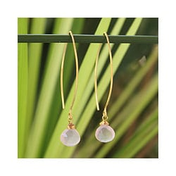 Gold Overlay 'Breath of Love' Rose Quartz Dangle Earrings (Thailand)