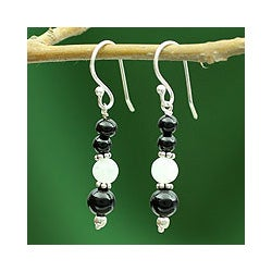 Sterling Silver 'Majestic Night' Onyx and Moonstone Earrings (India)