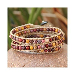 Handcrafted Jasper and Agate 'Lotus Feast' Cotton Bracelet (Thailand)