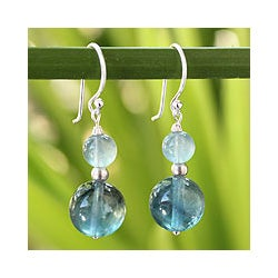 Sterling Silver 'Blue Genie' Fluorite Dangle Earrings (Thailand)