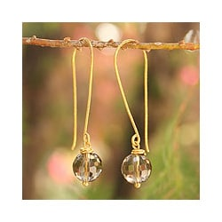 Gold Overlay 'Songkran Moon' Smoky Quartz Dangle Earrings(Thailand)