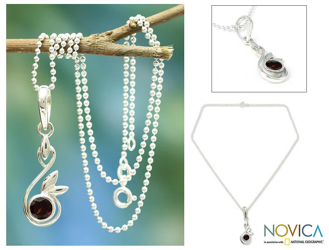 Sterling Silver Garnet Pendant Necklace 'New Growth' (India)