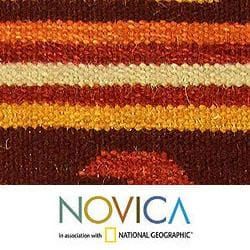 Hand-woven Wool 'Sunset Waves' Ginger Rug (4x6) (India)