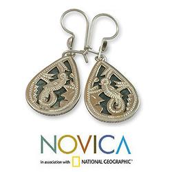 Sterling Silver 'Dark Green Sacred Quetzal' Jade Earrings (Guatemala)
