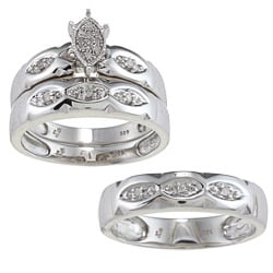 Sterling Silver 1/8ct TDW Diamond 3-piece His and Hers Bridal Ring Set (H-I, I1-I2)