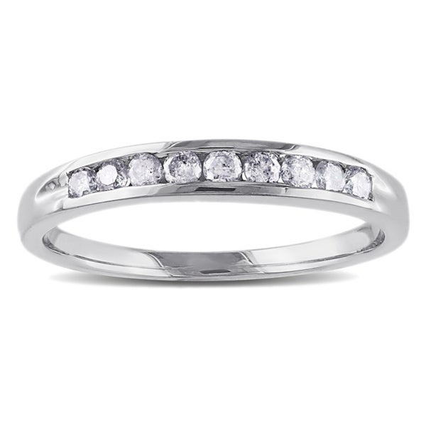 Miadora 14k White Gold 1/4ct TDW Certified Diamond Anniversary Ring (G-H, SI1-SI2)