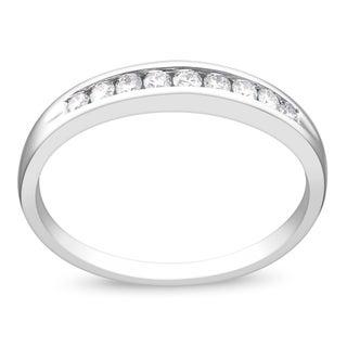 Miadora 14k White Gold 1/4ct TDW Certified Diamond Semi-eternity Ring (G-H, SI1-SI2)