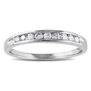 Miadora 14k White Gold 1/4ct TDW Certified Diamond Semi-eternity Ring (G-H, SI1-SI2)