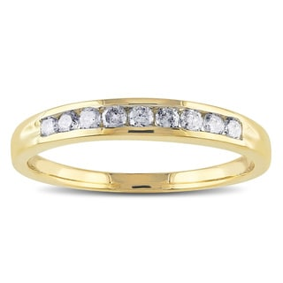 Miadora 14k Yellow Gold 1/4ct TDW Diamond Semi-eternity Ring (G-H, SI1-SI2)