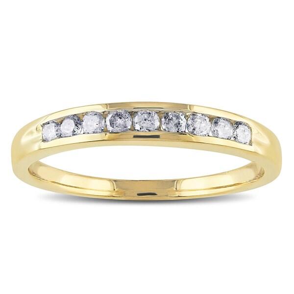 Miadora 14k Yellow Gold 1/4ct TDW Diamond Semi-eternity Ring (G-H, SI1-SI2)