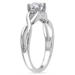Miadora Sterling Silver 1/3ct TGW White Sapphire and Diamond Accent Ring