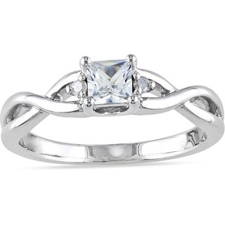 Miadora Sterling Silver 1/3ct TGW White Sapphire and Diamond Accent Ring with Bonus Earrings