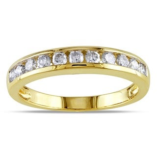 Miadora Certified 14k Gold 1/2ct TDW Diamond Semi-Eternity Wedding Band Ring (G-H, SI1-SI2)