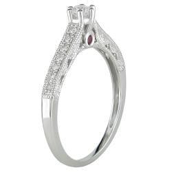 Miadora 10k Gold 1/4ct TDW Diamond and Pink Sapphire Engagement Ring (H-I, I2-I3)