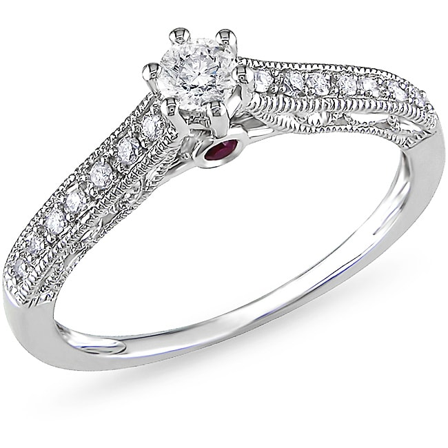 Miadora 10k Gold 1/4ct TDW Diamond and Pink Sapphire Engagement Ring (H-I, I2-I3)