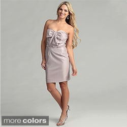 Issue New York Womens Bow Accented Strapless Belted Dress