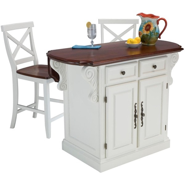 Traditions White and Cherry Island with Two Stools