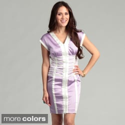 Issue New York Women's Front-zip Geometric Banded Dress