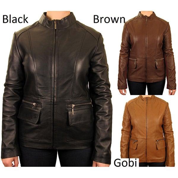 Knoles & Carter Women's Plus-size Bellow Pocket Leather Jacket