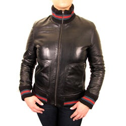 Knoles & Carter Women's Urban Knit-rib Leather Bomber Jacket