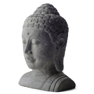 White-washed Volcanic Ash Buddha Head Garden Accent, Handmade in Indonesia