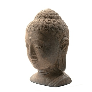 White-washed Volcanic Ash Buddha Head Garden Accent (Indonesia)