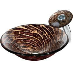 Caramel Vessel Sink in Chocolate Swirl with Waterfall Faucet