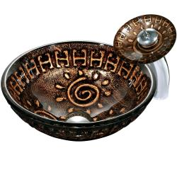 Aztec Vessel Sink in Mosaic Browns with Waterfall Faucet