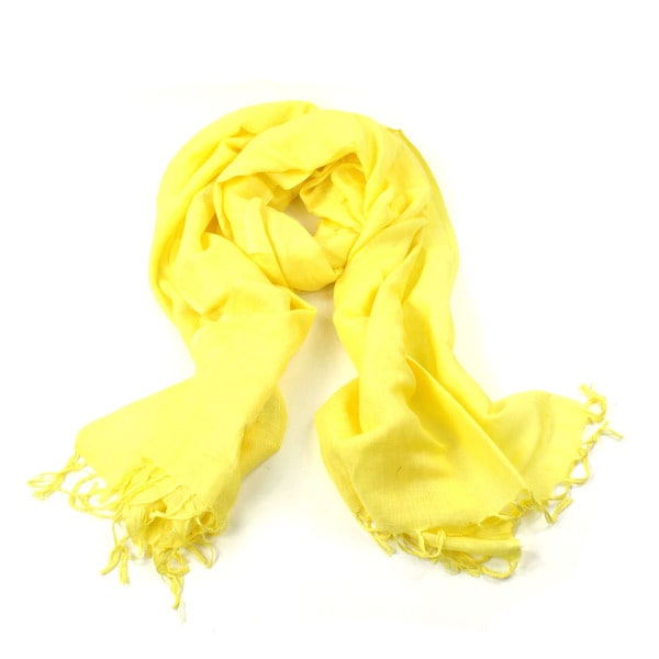 Saachi Lightweight Handmade Linen/Rayon Yellow Scarf (India)