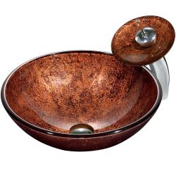 Mahogany Moon Vessel Sink in Copper with Waterfall Faucet
