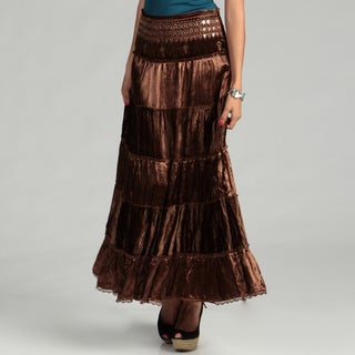 Tokyo Collection Women's Brown Mirror Sequin Tier Skirt