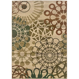 Sydney Beige/ Blue Contemporary Area Rug (9'9 x 12'2)