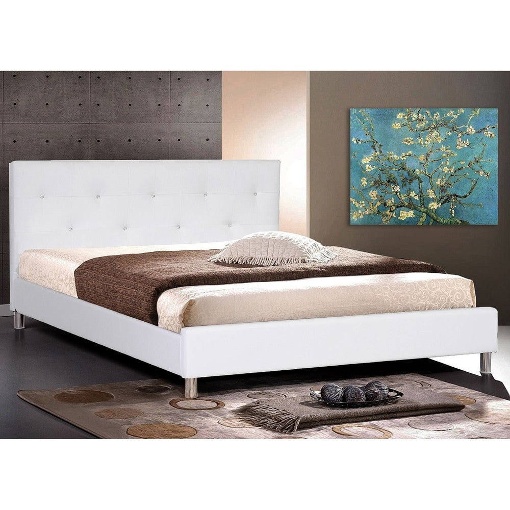 White Full Size Platform Bed 1000 x 1000