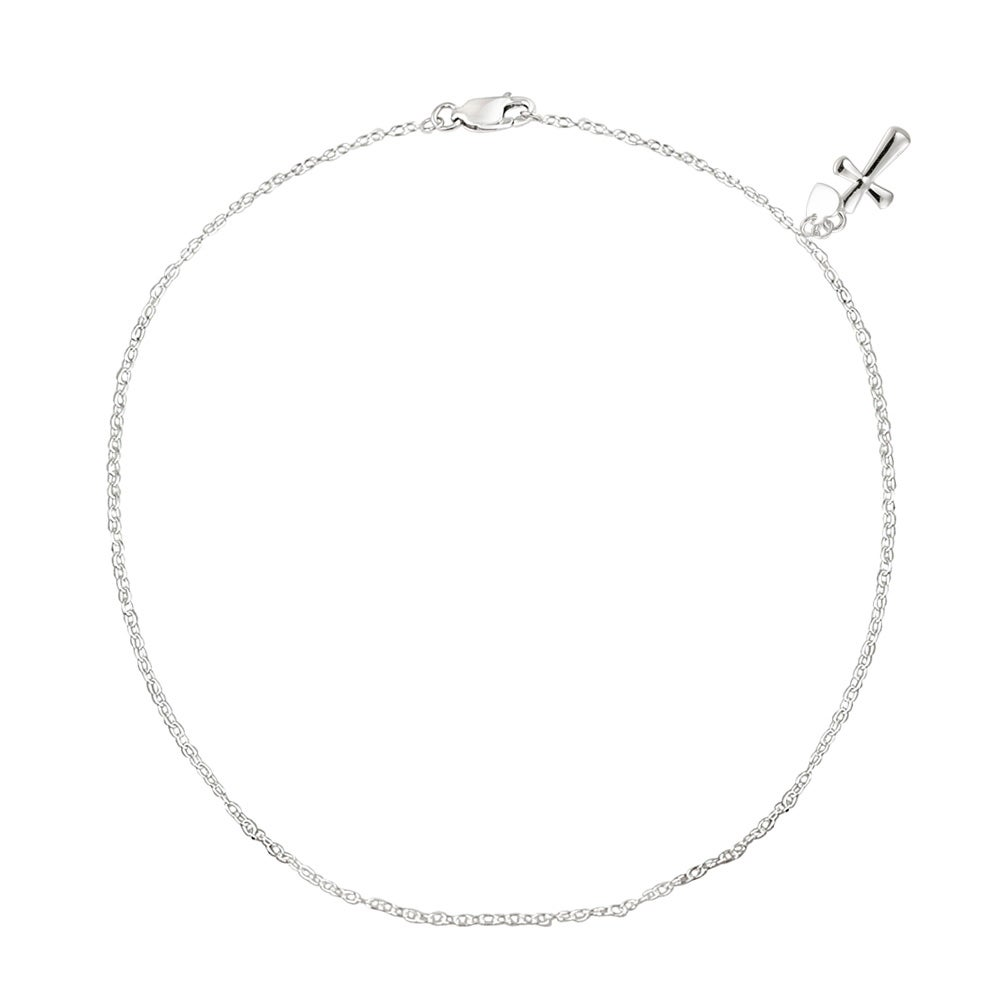 Mondevio Sterling Silver Rolo-chain Anklet with Cross and Heart Charm