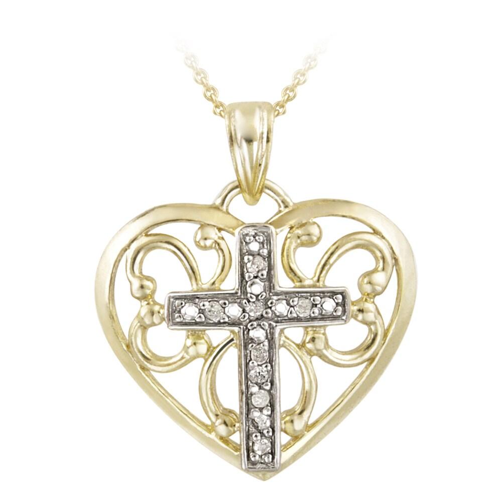 DB Designs 18k Gold over Silver 1/10ct TDW Diamond Heart Cross Necklace (J, I3)