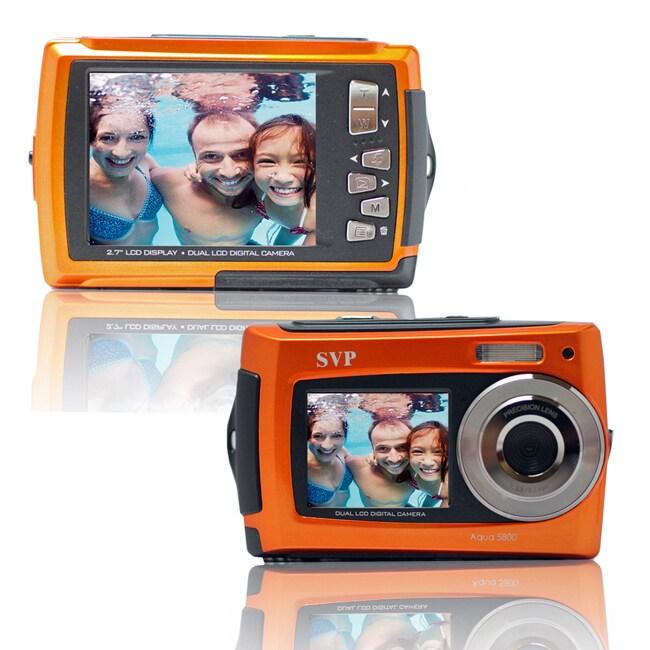 Aqua 5800 Orange 18MP Dual Screen Waterproof Digital Camera with Micro 8GB