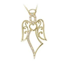 Icz Stonez 18k Gold over Silver Cubic Zirconia Angel Necklace