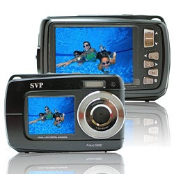 Aqua 5500 Black (with Micro 8GB) 18MP Dual Screen Waterproof Digital Camera