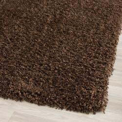 Cozy Solid Brown Shag Rug (6' 7 Square)
