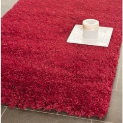 Cozy Solid Red Shag Rug (2'3 x 11')