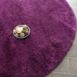 Cozy Solid Purple Shag Rug (4' Round)