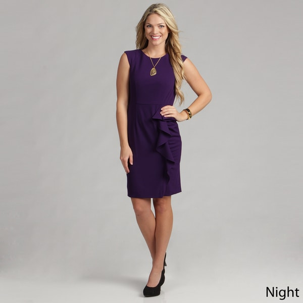 Calvin Klein Women's Side Ruffle Luxe Dress FINAL SALE