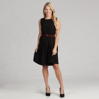 Calvin Klein Women's Pleated Luxe Croco-belt Dress