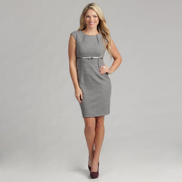 Calvin Klein Women's Striped Ponte Dress