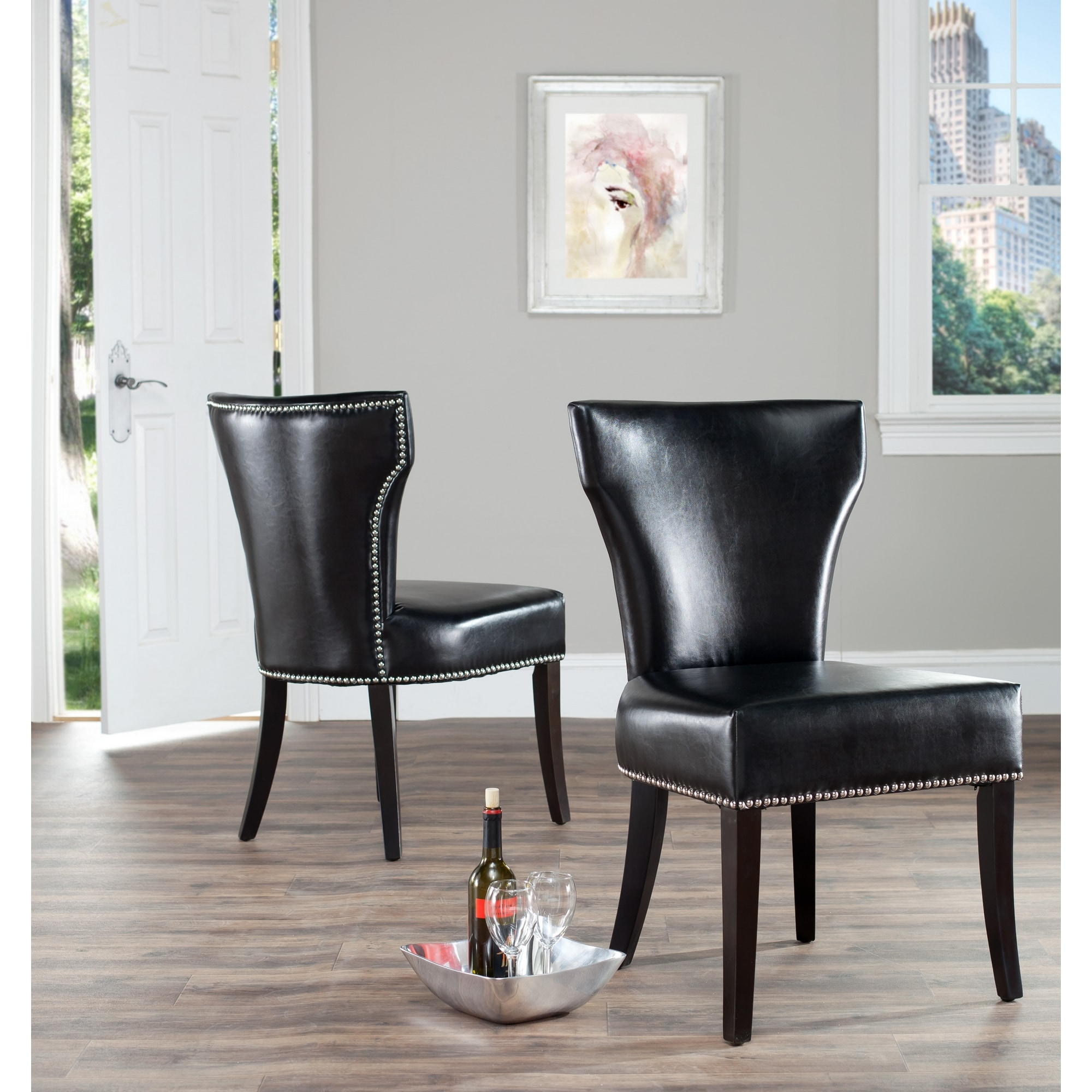 Safavieh Matty Black Leather Nailhead Dining Chairs Set