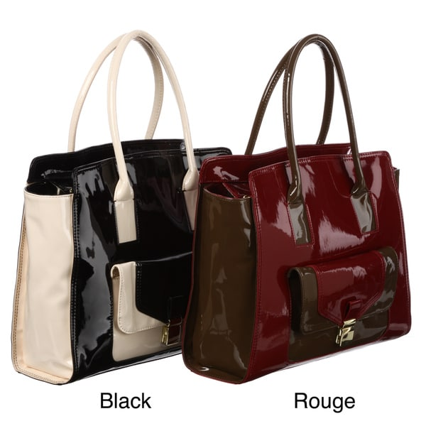London Fog Essex Colorblock Faux-leather Patent Shoulder/Tote Bag