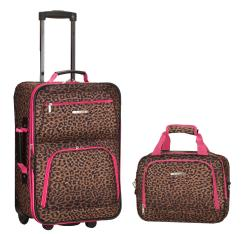 Rockland Pink Leopard 2-piece Lightweight Carry-on Luggage Set