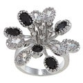 City Style Silvertone Black and Clear Crystal Flower Cluster Ring
